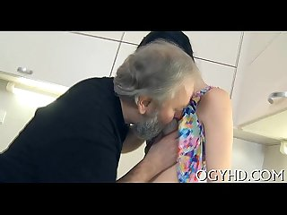 Old man seduces a young hottie
