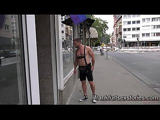 German hunk gets seduced and fucked by horny muscle daddy in fetish store