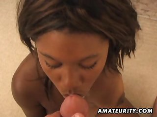 Black amateur girlfriend with braces blowjob with cumshot