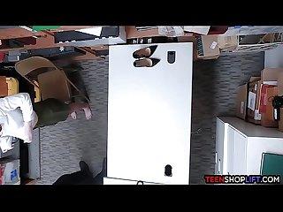 Shy redhead teen thief gets busted stealing underwear