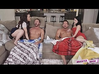 Alex and kimber work their way down to their dads cocks