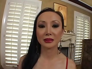 Hot asian MILF with perfect round boobs Ange Venus rides big dick on the couch