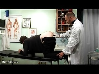 Old gay doctor probes his patient s ass with dick