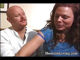 Big tit shemale having fun with a guy
