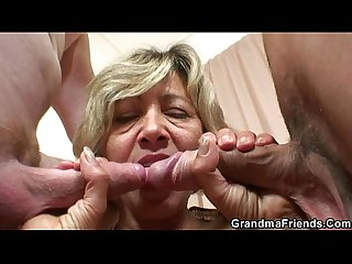 Hot mature lady banged by two young guys