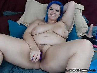 Blue haired BBW masturbates with dildo on cam