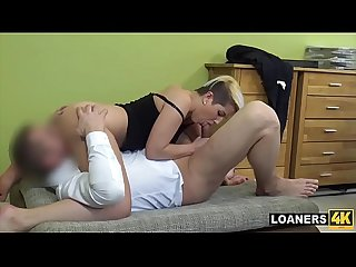 Young Super Slut Uses Her Tits & Pussy To Get Loan Approval