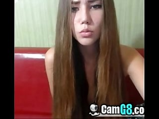 Sexy long haired chick flashes tits on cam camg8