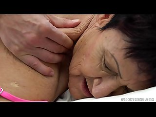 Granny eats a young guy S cum