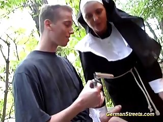 Naughty german nun loves cock