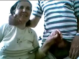 Aged couple having fun on web cam amateur