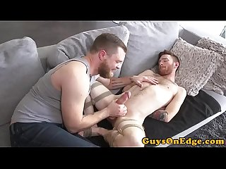 Ginger bounded sub tugged and toyed by dom
