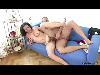 German young guy seduce hairy step mom to get first fuck