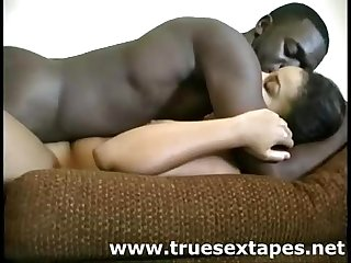 Black amateur couple make sex movie at home