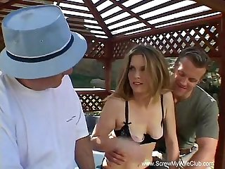 Redhead swinger wife outdoor 3some