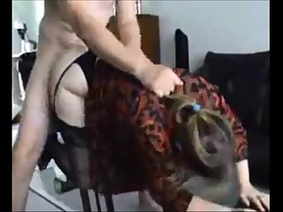 Curvy wife in stockings fucked at home