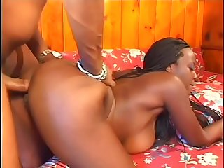 Incredible ebony babe with big tits rides black huge dick in motel