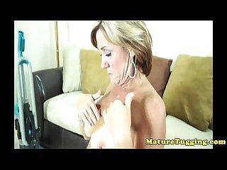 Stunning mature tugging milf get tits jizzed