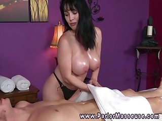 Huge titted babe sucking cocks and balls