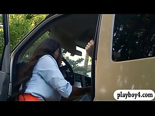 Big boobs ghetto milf screwed in the car