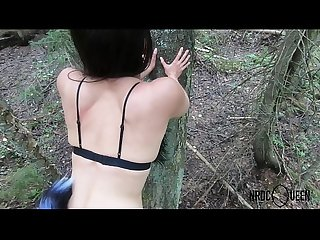 Outdoor Forest fuck with Foxy anal tail Lady 4K