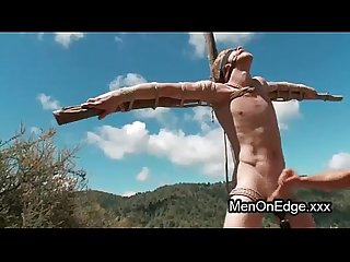 Blindfolded gay in woods anal fucked