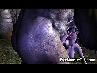 3D blonde babe sucking on an orc's stiff schlong
