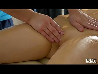 Lubed up with oil for deep anal penetration gives Bailey chills of pleasure