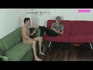 Sexy blackmailing cousin ballbusting leggings foot worship