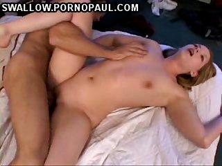 Teen swallowing first cumshot
