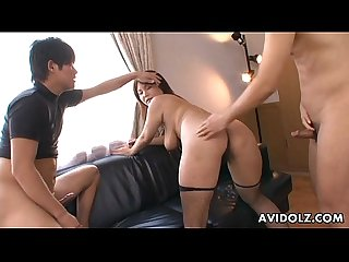 Asian slut in fishnets has a foursome fuck