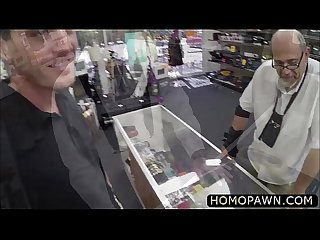 Straight guy gets nailed from behind by a monster huge dick in the pawnshop
