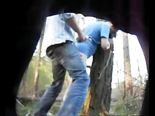 hidden cam gay fuck against a tree