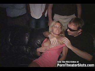 Hot Escort Blonde Group Sex in Theater!