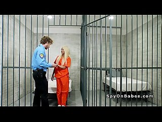 Natural tits blonde bangs in jail cell