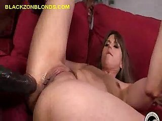 Two giant black cocks on her pussy and mouthdmouth