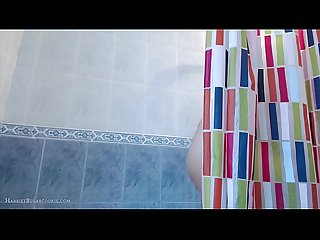 Harriet sugarcookie plays in the shower