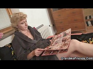 Two deliverymen bang lonely mature