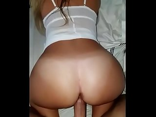 Gorgeous pawg slut working my cock like a pro