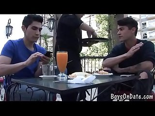 Hunky twink boys hook-up at the cafe