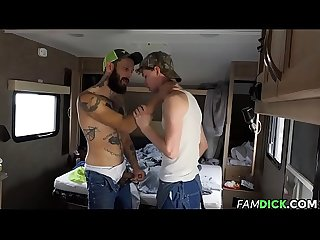 Twink barebacked by Stepfather in trailer
