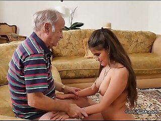 Young maid jeleana marie blows her rich old boss