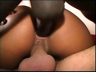 Amazing black girl slammed in interracial threesome