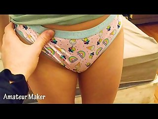 REAL !! Playing with my little step sister in sexy panties before going to bed