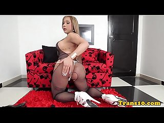 Latina tgirl wanking off and tastes her jizz