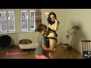 Zuzinka and her teen friend in double lapdance