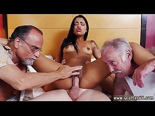 Teen gardener old man and old virgin staycation with a latin hottie