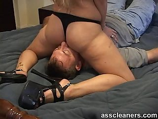 Mistress in heels and bikini sits her nice ass on man S face