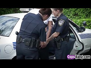 Two police officer cougars fucking horny black dude outdoors