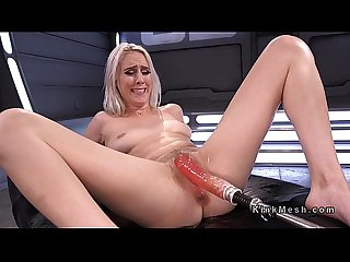 Trimmed cunt blonde squirts on fucking machine